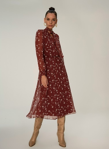 NGSTYLE Fular Detaylı Elbise Bordo